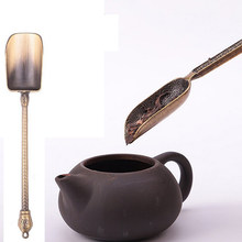 Chinese Kongfu Tea Spoons Copper Tea Scoop Spoon Tea Leaves Chooser Holder Chinese Kongfu Tea Tools Accessories(China)