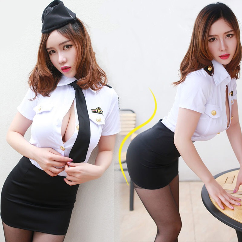 <font><b>Sexy</b></font> Policewoman Costume Officer Ladies Roleplay Fancy Dress Adult <font><b>Cops</b></font> flight attendant Uniform image