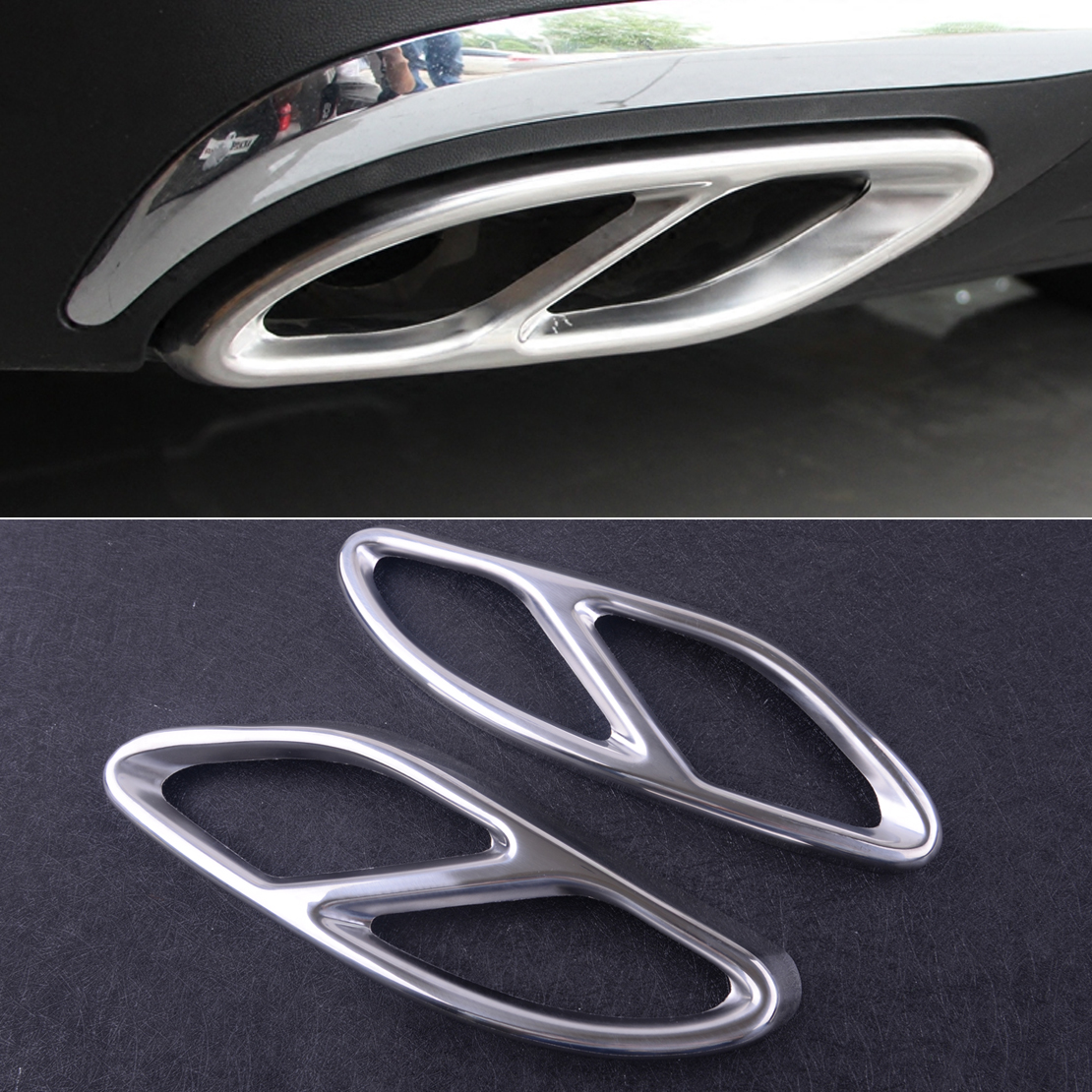 CITALL 2pcs 304 Stainless Steel Tail Exhaust Muffler Pipe Cover Trim For Mercedes Benz GLC A Class W176 W246 GLE 2015 2016 2017(China)