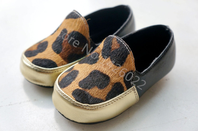 HotNew Leopard Genuine Leather Horse hair baby shoes First Walkers The design Toddler baby moccasins gift for baby free shipping