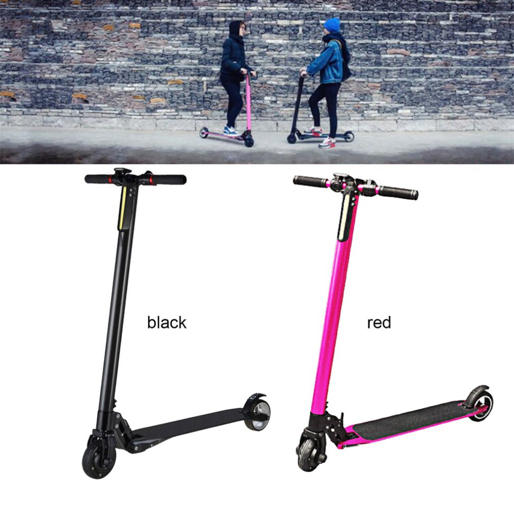 Portable Folding Carbon Fiber Electric Scooter Vehicles  2 Wheel electric Skateboard for Adults and Children Black Red Color Hot wuliang l1 carbon fiber electric scooter mini portable folding electric scooter