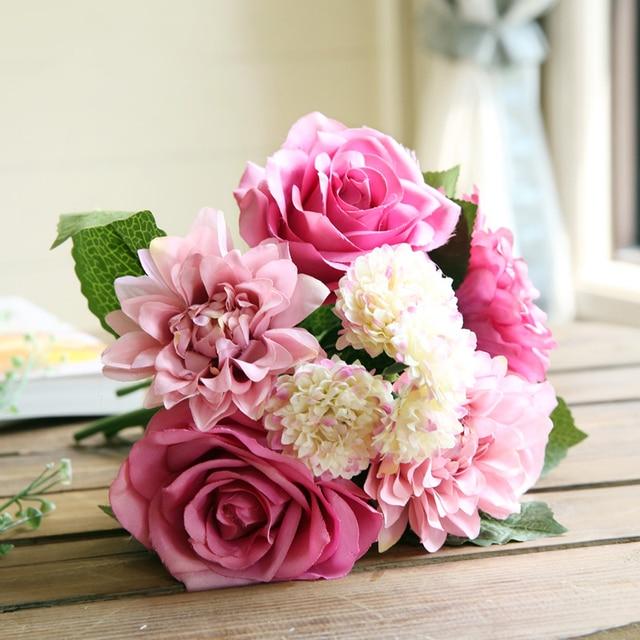 Rosen Kunstliche Blumen Dahlien Hochzeit Bouquet Herbst Lebendige