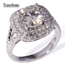 TransGems 3 Carat Lab Grown Moissanite Diamond Ring white Gold fashion jewelry Rings Band for Women Wedding Engagement