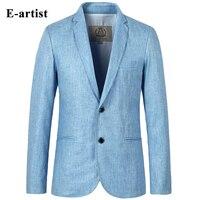 Mens Slim Fit Casual Blazer Jackets Linen Business Suit Coats 2 Buttons Outwear Plus Size 5XL