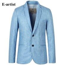 E-artist Mens Slim Fit Business Casual Linen Blazer Jackets Suit Coats 2 Buttons Outwear Overcoats Plus Size 5XL X06