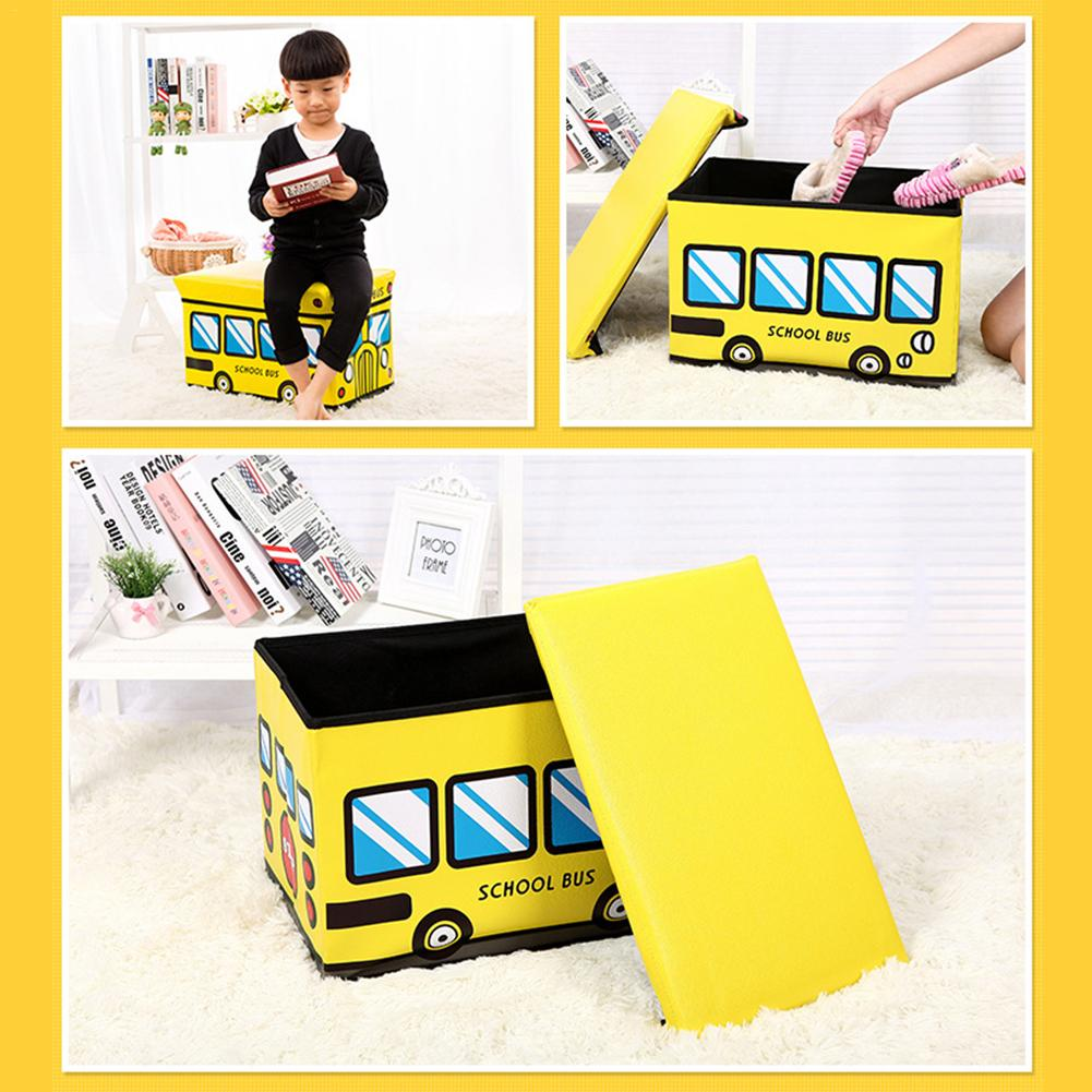 School Bus Collapsible Toy Storage Organizer Toy Box Folding Storage Ottoman For Kids Bedroom | Perfect Size Toy Chest For BooksSchool Bus Collapsible Toy Storage Organizer Toy Box Folding Storage Ottoman For Kids Bedroom | Perfect Size Toy Chest For Books