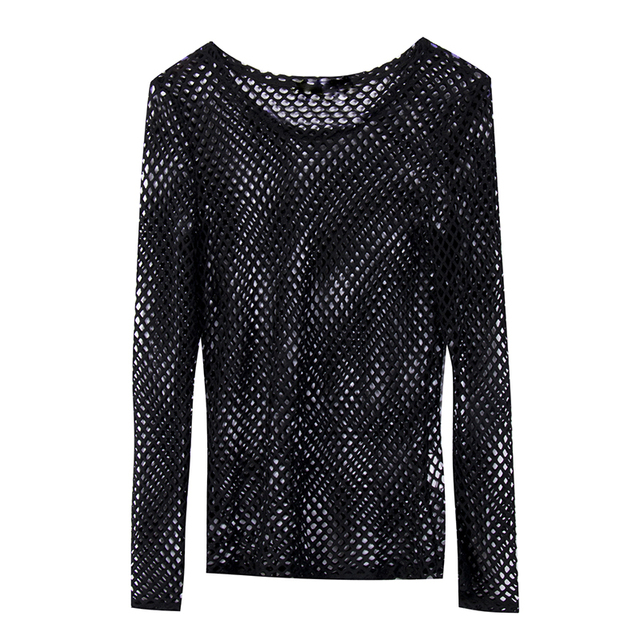 070f822e43 HOT Sexy Womens T-shirts Long Sleeve T-Shirts Casual Fishnet Tops Womens  Loose Summer Fashion Female Clothes Mesh Tops T-Shirts