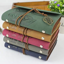 лучшая цена Hot sale 2015 vintage diary school notebook leather cover ring binder blank book travel journal mini notebook Kraft paper