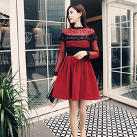 2018 high end women fashion autumn elegant slim bodycon sexy party casual red runway lace hollow out mini long sleeve dress