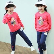 Vestidos 2016 медведь pattern осень хлопок девушки длинные брюки и футболка childen комплект одежды девушки одежда 3 4 5 6 7 8 9 10 лет