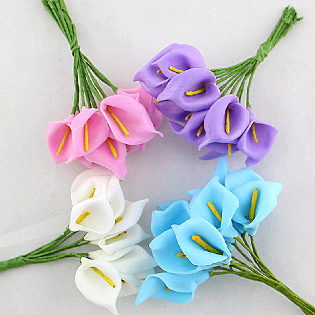 Мини пена Калла ручной искусственный цветок свадебное оформление букета DIY ВЕНОК Подарочная коробка Скрапбукинг Ремесло поддельные цветок 12 шт.