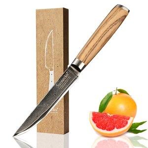 Image 1 - SUNNECKO 5 Utiltiy nóż 73 warstwy Damascus Steel japoński VG10 ostry nóż uniwersalne noże kuchenne oryginalny drewniany uchwyt
