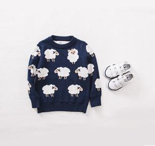 2015 primavera blusas das crianças, blusas de malha meninos e meninas dos desenhos animados ovelhas jacquard duplo, camisola do bebê