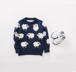 2015 spring children's sweaters, knitted sweaters boys and girls cartoon sheep double jacquard,baby sweater