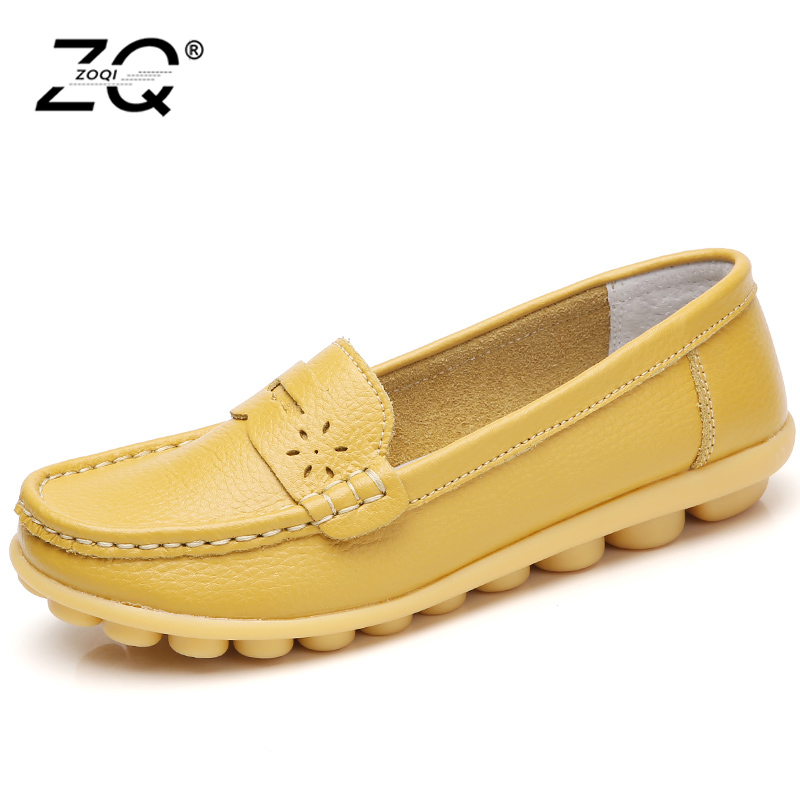 ZOQI Genuine Leather Shoes Woman 2018 New Solid Slip On Boat Shoes For Women Flats Shoes Loafers Chaussure Big Size 35-44 zoqi shoes woman candy colors genuine leather women casual shoes 2018fashion breathable slip on peas massage flat shoes size 44