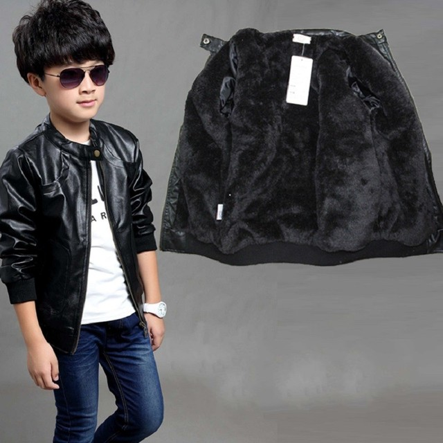4318a2c5f6e6 New Kids Jackets Leather Fleece Jacket Boys Coat Winter Autumn ...
