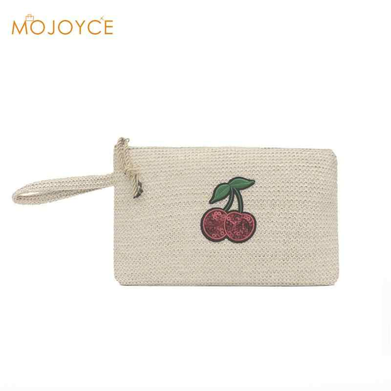 3b433a2206ff Cute Wristlet Clutch Beach Women Daily Makeup Bags Straw Zipper ...