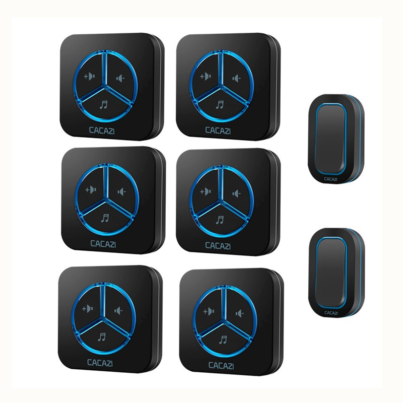 CACAZI 9909 AC 110-220V Wireless Doorbell 2 transmitters+6 receivers 280M remote US/EU/UK plug 48 ringtones 6 volume door ring cacazi ac 110 220v wireless doorbell 1 transmitter 6 receivers eu us uk plug 300m remote door bell 3 volume 38 rings door chime