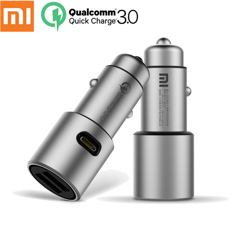 Original Xiaomi Car Charger Quick Charge 3.0 Metal Casing Dual USB Ports Max 5V/3A  for Android iOS for Xiao Mi iPhone Samsung