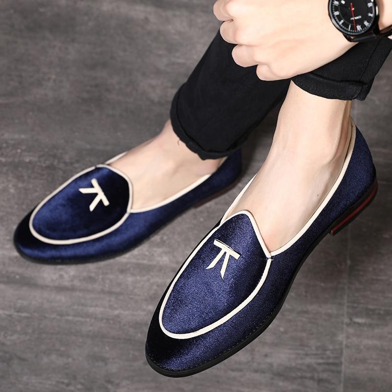 Black Novo Seda 2019 Veludo Designer De Plus Size Dedo Apontado Estilo Formal azul Moda Couro Confortáveis red Homens Dos Sapatos 8ddqTB