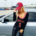 2017 sexy women bodysuits print with letter 'bulls' longsleeve fashion casual feme jumpsuits