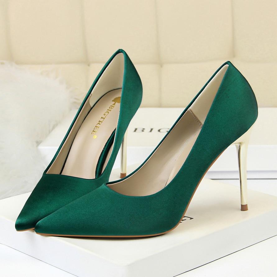 2018 Fashion Plus Size 10cm High Heels Women Scarpins Pumps Female Sexy Wedding Silk Satin Heels Escarpins BIGTREE Green Shoes