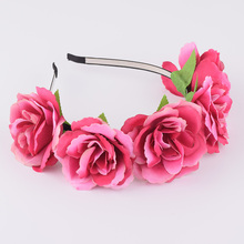 CXADDITIONS Peony Wildflower Headband Flower Crown Hairpiece Floral Wreath Headwrap Hair Accessories Women Bridesmaid