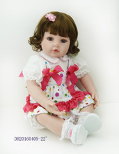 22″ Lovely princess girl doll reborn soft touch cloth body silicone vinyl reborn baby dolls children new year gift bonecas