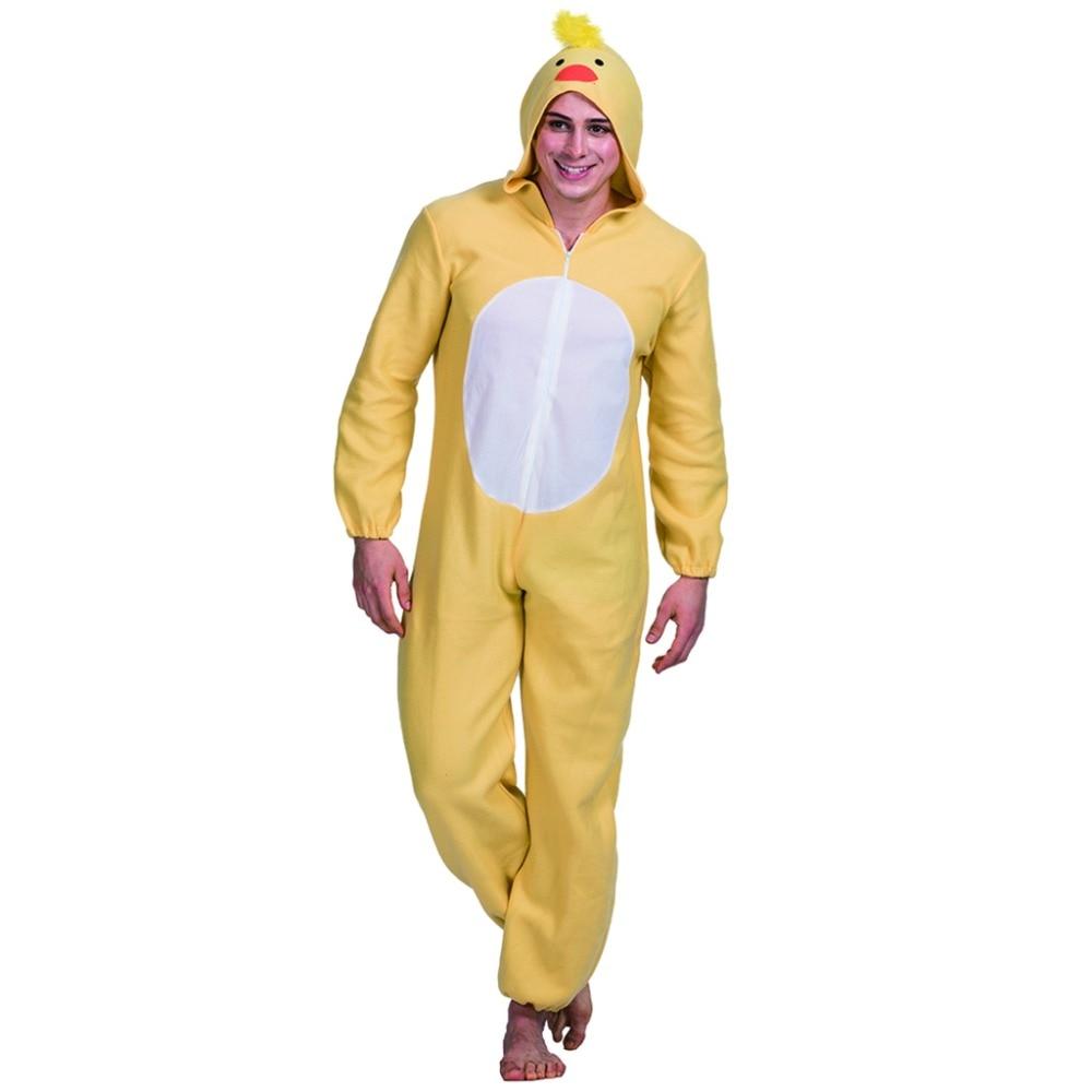 2017 Yellow Animal Chick Cosplay Men Jumpsuit Romper Pajama Mascot Costume Japanese Adult Anime Costumes Halloween Costumes