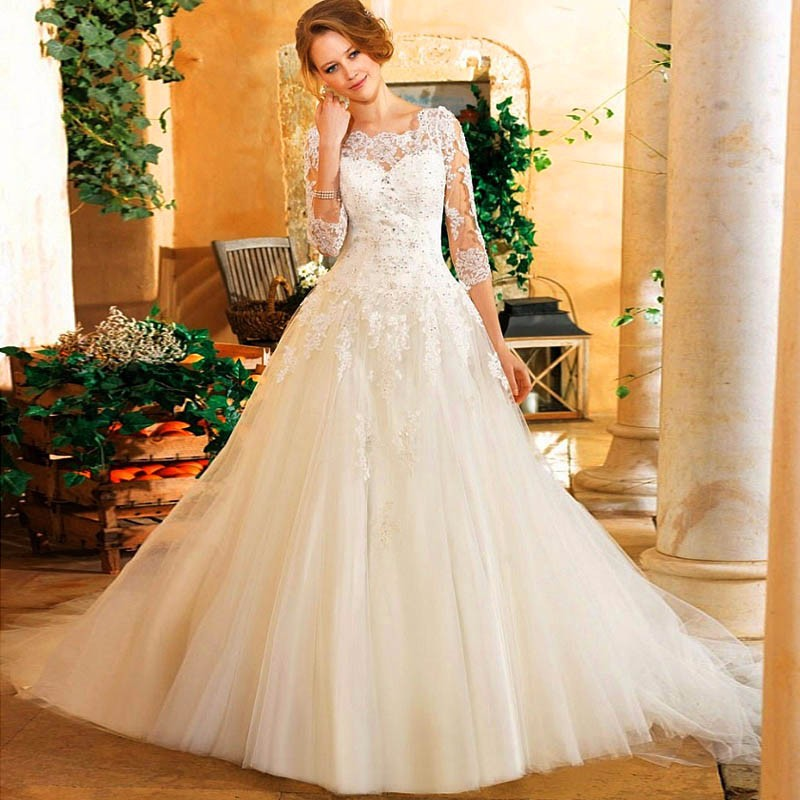 Exquisite Beaded Lace Ball Gown Wedding Dress Appliques