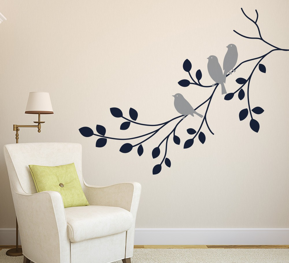 Three Birds on a Branch Wall Art Sticker Vinyl Wall Decals Wall Stickers  Home Decor Living