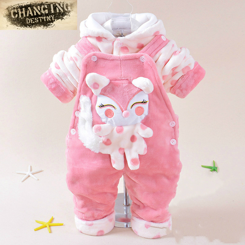 0-2 Years Old Autumn Winter Children Baby 2 Pcs Suit (overcoat+pant +straps)cartoon Cotton Suit Infant Garment Kids Clothes Wear sutton studio womens 2 pcs quilted pant suit