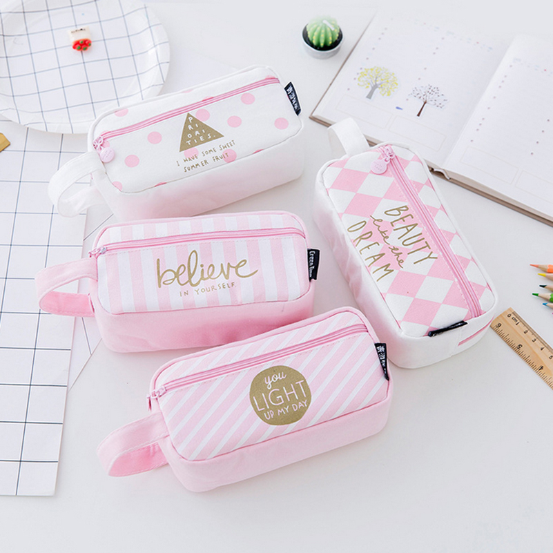 Kawaii Large Capacity School Pencil Case Cute Big Zipper Pen Canvas Bag Escolar Penalty Office Supplies for School Stationery kawaii kitty melody twin star sumikko gurashi gudetama canvas big capacity pencil pen bag
