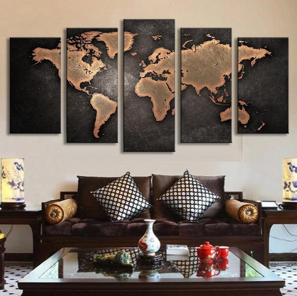 5 Pcs/Set Modern Abstract World Map Wall Art Painting World Map Canvas Printed Painting for Living Room Home Decor Picture P014