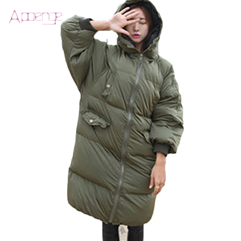 APOENGE Long Women Jackets Winter Padded-Cotton Coats  Warm Overcoats 2017 New Bread Causal Parkas With Hooded Overwear LZ462 aishgwbsj winter long coats women hooded padded cotton parkas female thicker 2017 new winter cotton warm overwear jackets pl127