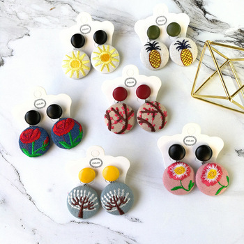 New arrival retro pu leather round buckle embroidered cloth button earring simple girl Sen students stud earrings