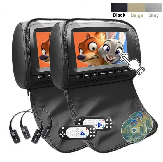 Roverone 2 шт. x 9 дюймов Мониторы подголовник автомобиля dvd плеер HD 1080 P видео цифровой Сенсорный экран молнии Обложка USB SD + 2 ИК наушники