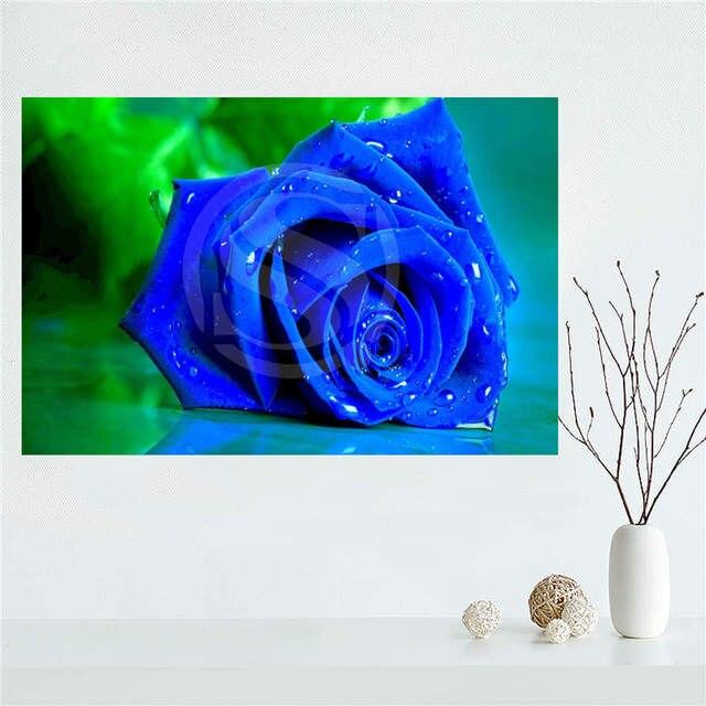 Yjw523 L30 Encargo Rosas Azules Hermosas Naturaleza Flores Lienzo