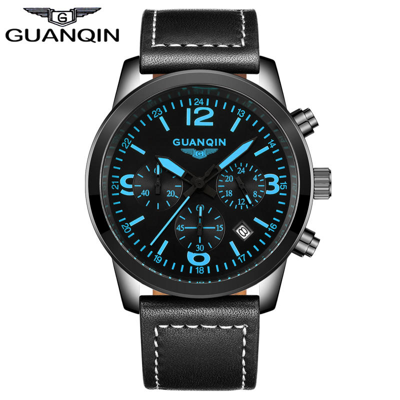 ФОТО GUANQIN GS19037 Top Brand Men Watches Male Waterproof Quartz Watch With Calendar For Outdoor Sport relogio masculino