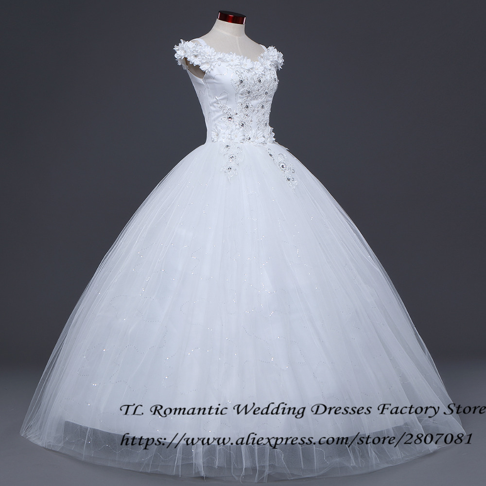 Free Shipping Flowers Boat Neck Sex Wedding Dresses Frocks Princess