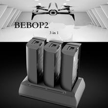 Bateria 3 em 1 para 2 drone papagaio bebop, bateria de carregamento 12.6v 2a, equilibramento rápido, descarga portátil, carregador otdoor papagaio