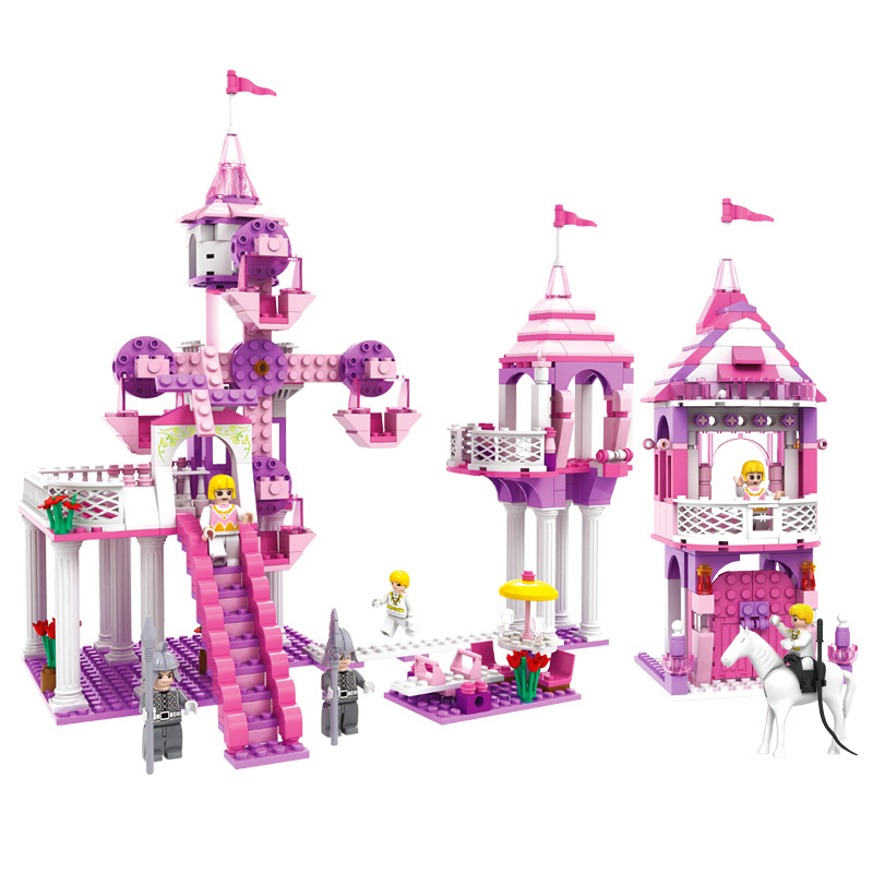 7 Style Kids Dream Princess and Prince Pink Palace Castle Set Model Building Blocks Compatible With Lego Gifts child Toys