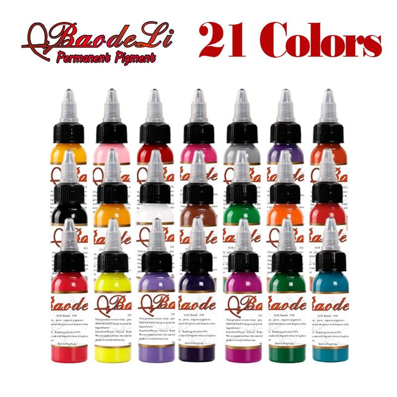 Encres de tatouage originales couleurs 30 ml 1 OZ encres de Pigment de tatouage ensemble 21 couleurs pour Kit dart de tatouage de corps U-PICK chaque couleur livraison gratuiteEncres de tatouage originales couleurs 30 ml 1 OZ encres de Pigment de tatouage ensemble 21 couleurs pour Kit dart de tatouage de corps U-PICK chaque couleur livraison gratuite