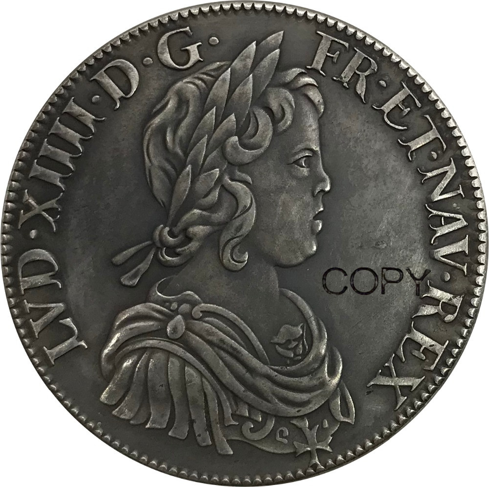 France Kingdom 1 Ecu Louis XIV 1643 Plated Silver Copy Coins|Non-currency Coins| - AliExpress