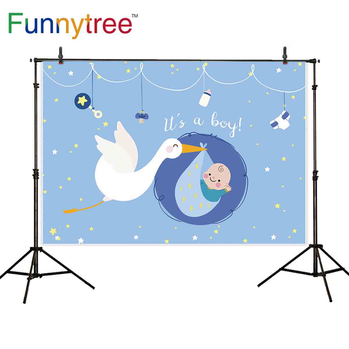 Funnytree <font><b>backdrop</b></font> for photographic studio blue <font><b>baby</b></font> <font><b>shower</b></font> party cartoon stork for <font><b>boy</b></font> stars background photobooth photocall image