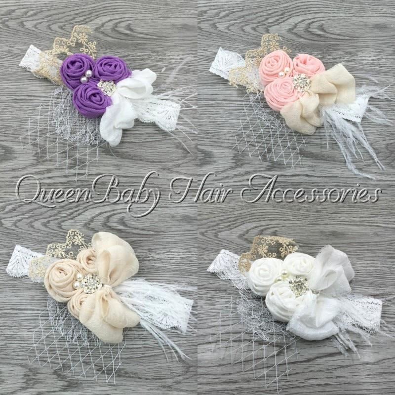 12pcs/lot Triple Slub Cotton Rosettes Headbands Rhinestone Pearl Lace Bow Headband Feather Diadema Bebe Kidocheese