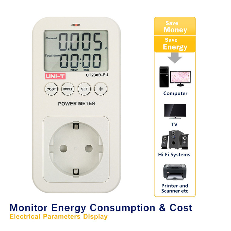 UNI-T UT230B-EU wattmeter Voltage Current Cost Frequency Power Meter LCD  Energy Consumption Monitor digital Power meter