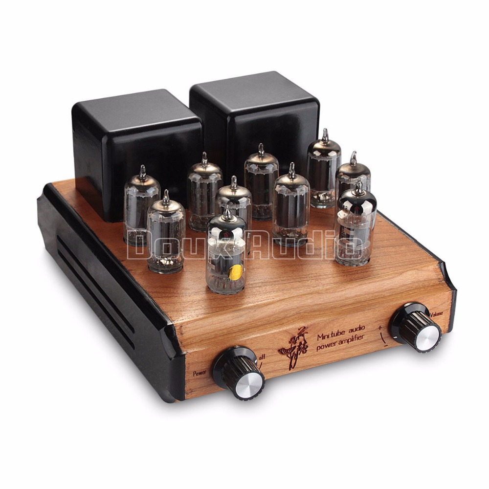 Douk Audio Mini Classic Parallel Push-Pull Valve 6N4 Tube Amplifier HIFI Power Amp 10W*2 Pure handmade Wood Chassis Amplifier silver mini tube amplifier appj pa0901a 6n4 6p14 tube upgrade to el84 12ax7b original minwatt n3 smallest tube audio amplifier