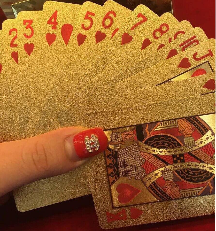 Cartes à jouer en plastique imperméables durables feuille dor Poker or Texas Holdem 24K feuille dor plaqué cartes de Poker jeux de Table