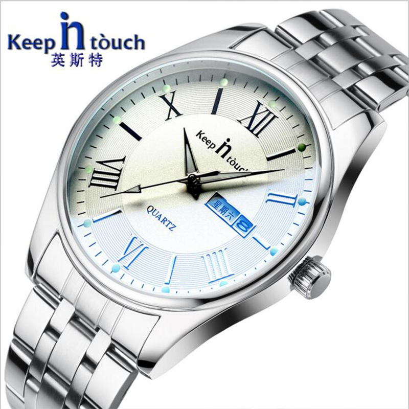 2017 Luminous Dial Men's Woman Steel Watches <font><b>Blu-Ray</b></font> Mirror Business Dual Calendar Alloy Quartz Waterproof Relogio Masculino